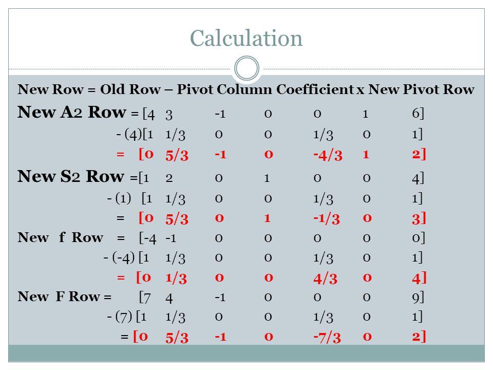 Calculation New A2 Row = [4 3 -1 0 0 1 6] New S2 Row =[1 2 0 1 0 0 4]